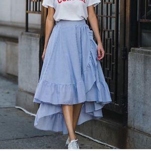 Maje Blue Johno dot stripe Midi Skirt with ruffle